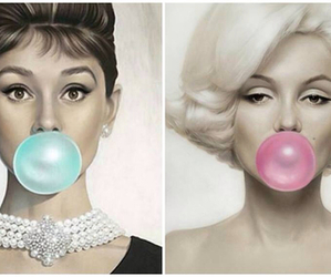 audrey hepburn, Marilyn Monroe, and blue image
