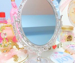 mirror, kawaii, and pink image