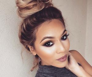 makeup, beauty, and bun image