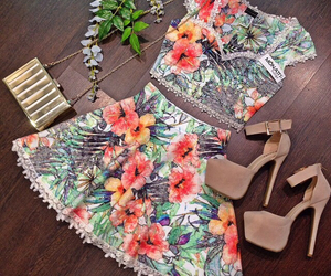 outfit, flowers, and shoes image