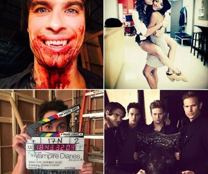 bloopers, Nina Dobrev, and michael trevino image
