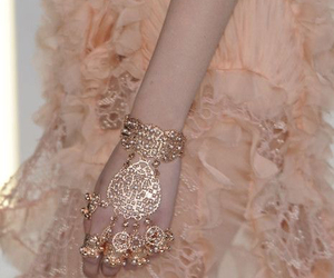 peach, gold, and jewelry image