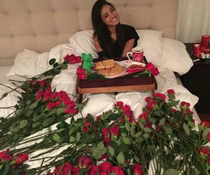 love, breakfast, and roses image