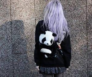 panda, hair, and grunge image