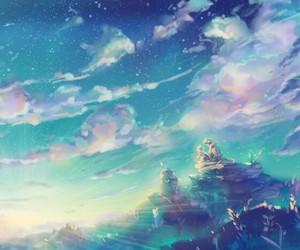 sky, anime, and anime girl image