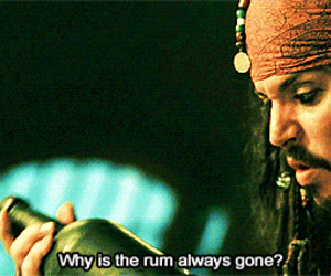 rum, jack sparrow, and johnny depp image