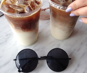 coffee, sunglasses, and drink image