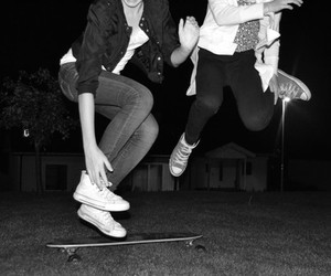 black white, converse, and happy image