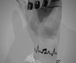 music, girl, and tattoo image