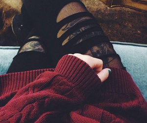 tattoo, black, and sweater image