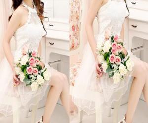 flowers, white dress, and korean fshion image