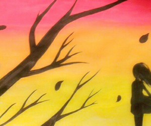 arbol, atardecer, and draw image