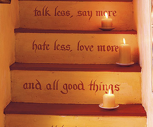 candle, quotes, and stairs image