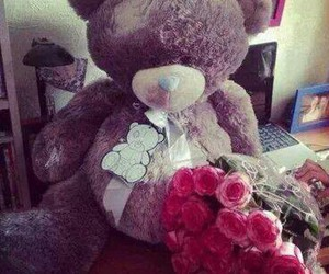 rose, flowers, and teddy image