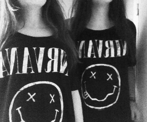 black and white, girls, and nirvana image