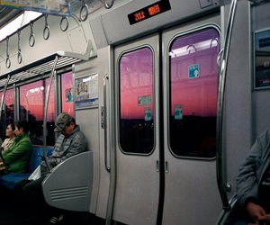 sky, pink, and train image