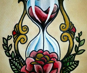 hourglass, rose, and art image