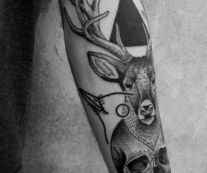 tattoo, deer, and skull image