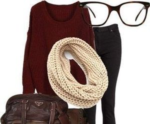 outfit, scarf, and glasses image