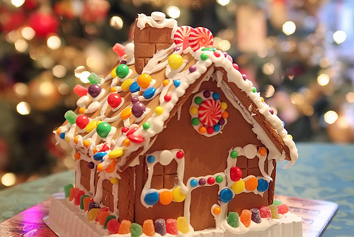 candy, ginger bread house, and j image