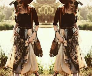 floppy hat, fringe bag, and maxi skirt image