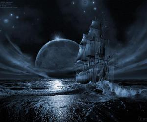 ghost, moon, and ship image