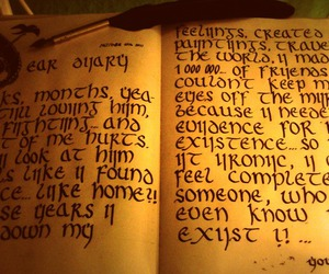 calligraphy, candle, and diary image