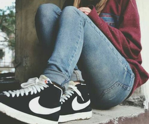 girl, smoke, and nike image