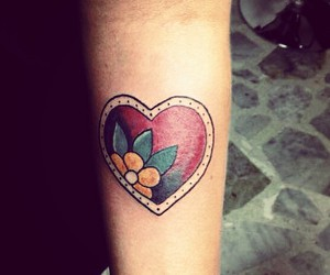 flower, heart, and ink image
