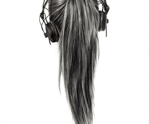 music, hair, and headphones image