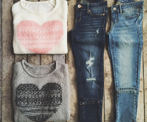fashion, jeans, and heart image