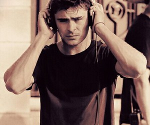 headphones, street, and zac efron image