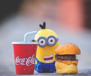 food, happy, and minions image