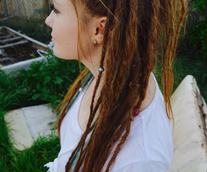 dreadlocks, dreads, and nose ring image