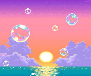 pixel, bubbles, and sunset image