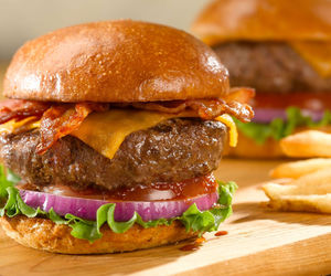 bacon, burger, and cheese image