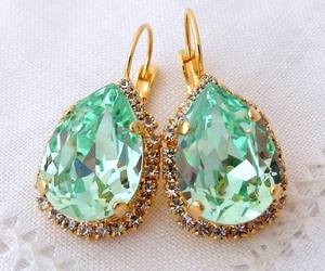 earrings, gold, and green image