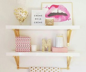 pink, room, and gold image