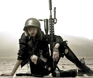 girl, gun, and tank girl image