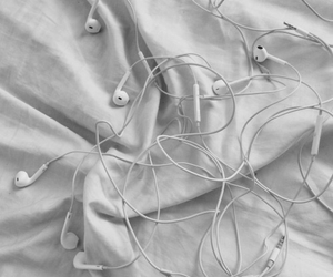 earphones, white, and grunge image