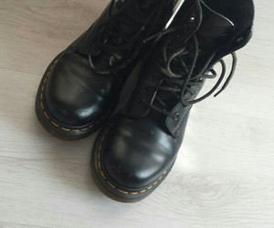black, dr martens, and fashion image