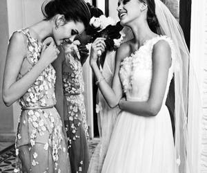dress, wedding, and bride image