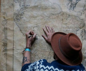 map, travel, and boy image