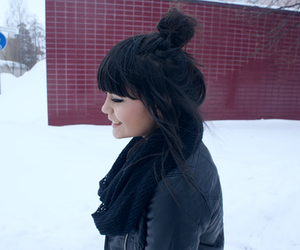 girl, bangs, and bun image