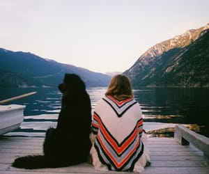 dog, nature, and girl image