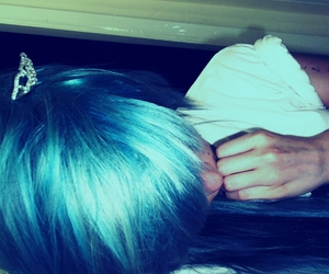 blue hair, piercing, and uila image