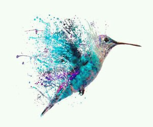 bird, paint, and blue image