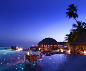 beach, lights, and palmtrees image