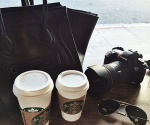 starbucks, coffee, and camera image