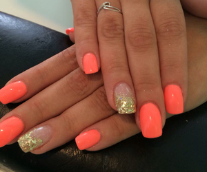 coral, gold, and nail art image